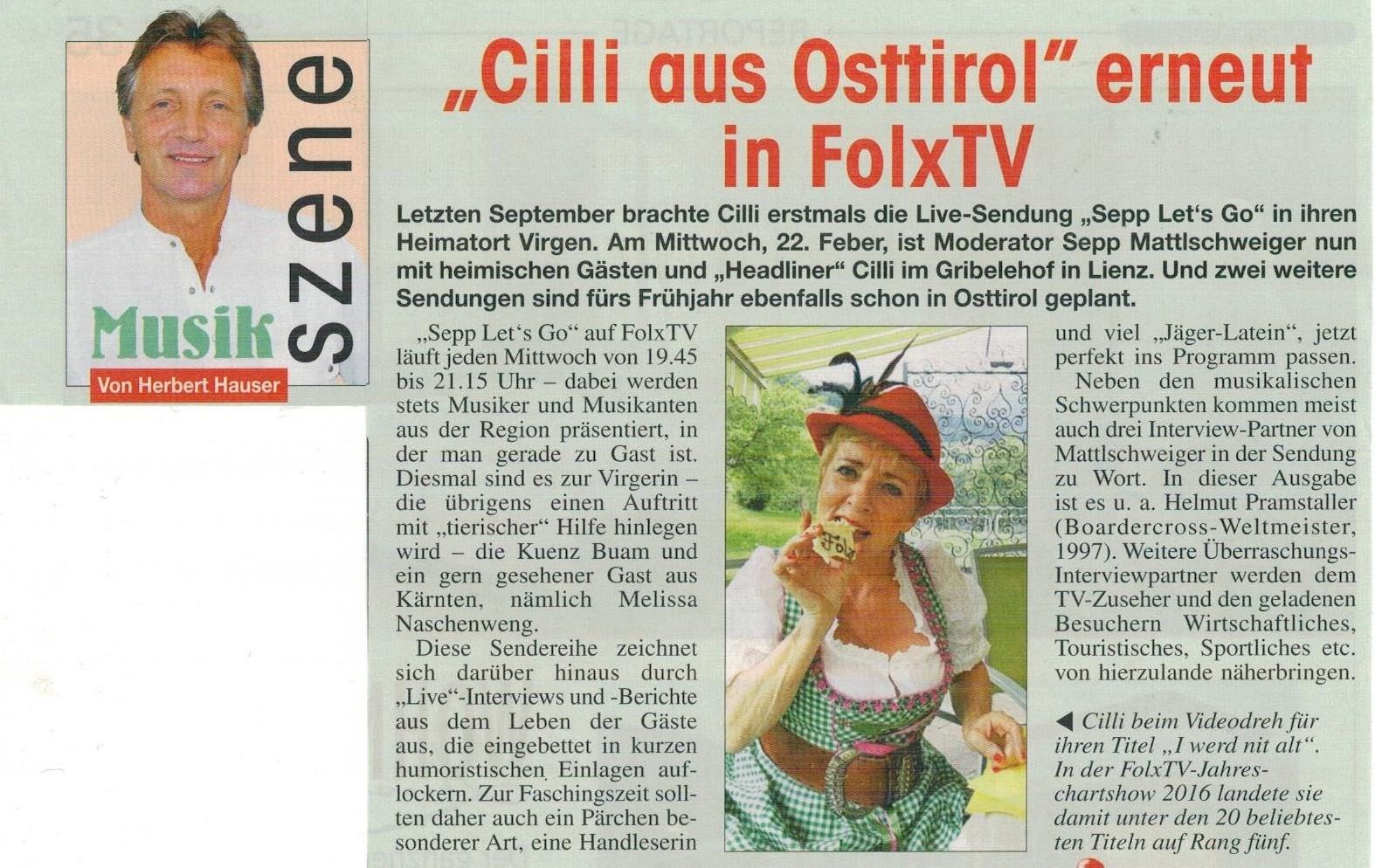 Cilli bei Sepp let's go im Gribelehof Osttiroler Bote 09.02.17