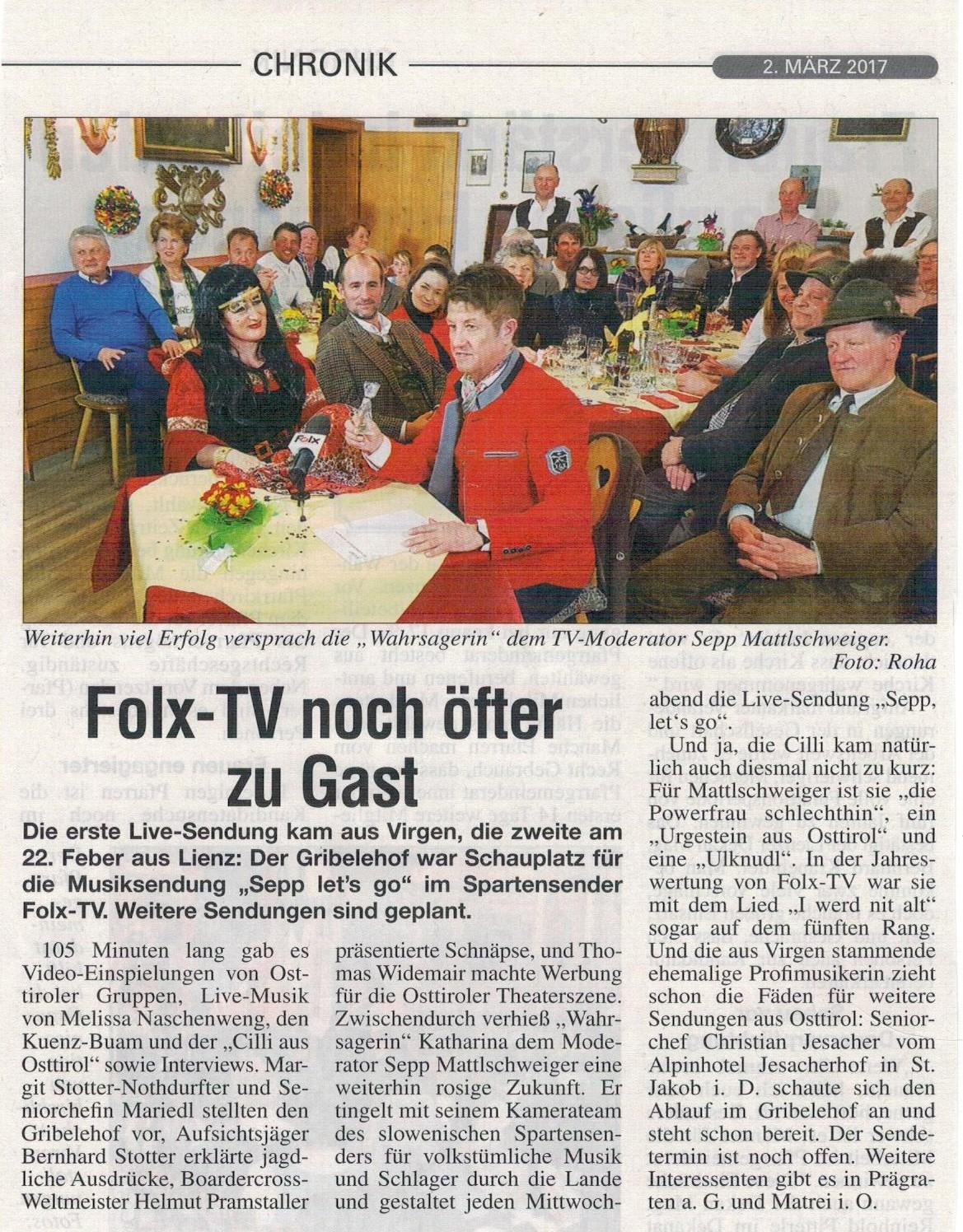 Cilli bei Sepp let's go im Gribelehof Osttiroler Bote 02.03.17