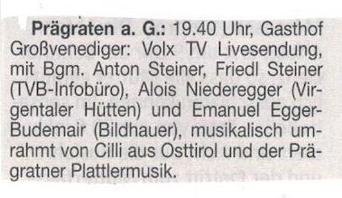Cilli im Folx TV Live Sendung im Grosvenediger Osttiroler Bote 04.05.2017